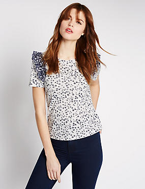 Modal Blend Ditsy Floral Print T-Shirt, IVORY MIX, catlanding