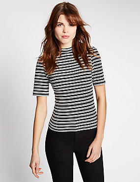Striped Funnel Neck Short Sleeve T-Shirt, IVORY MIX, catlanding