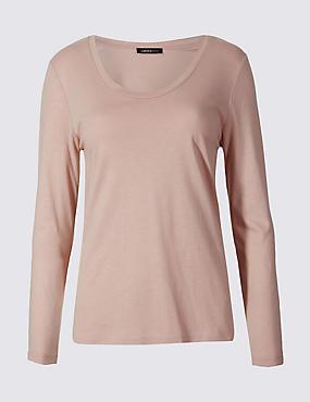 Modal Blend Scoop Neck Long Sleeve T-Shirt, PALE PINK, catlanding