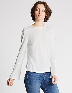 Metallic Fleck Fluted Sleeve T-Shirt, IVORY MIX, catlanding