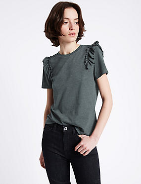 Cotton Blend Ruffle Short Sleeve T-Shirt, CHARCOAL, catlanding