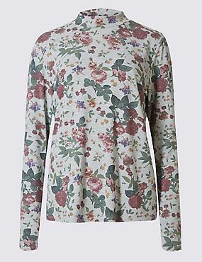 Floral Print Long Sleeve Jersey Top, , catlanding