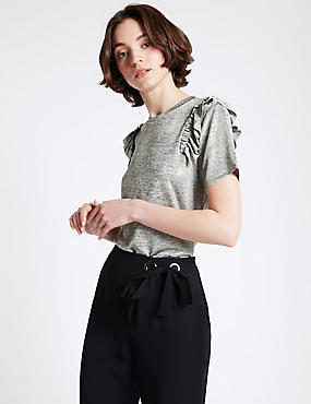 Shoulder Frill Short Sleeve T-Shirt, GREY, catlanding