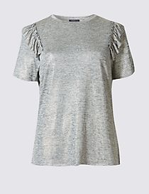 Metallic Frill Short Sleeve T-Shirt