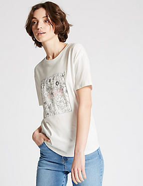 Modal Blend Floral Print T-Shirt, WHITE MIX, catlanding