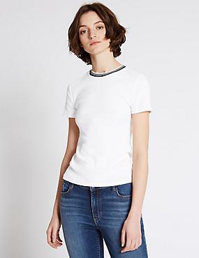 Contrasting Neckline Short Sleeve T-Shirt, IVORY, catlanding