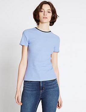 Contrasting Neckline Short Sleeve T-Shirt, PALE BLUE, catlanding