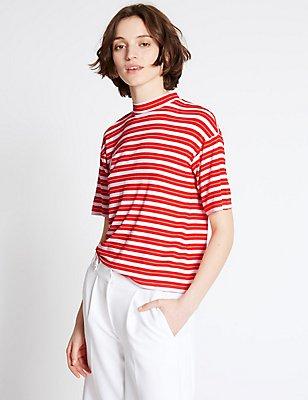 Striped Tie Back Half Sleeve T-Shirt, RED MIX, catlanding
