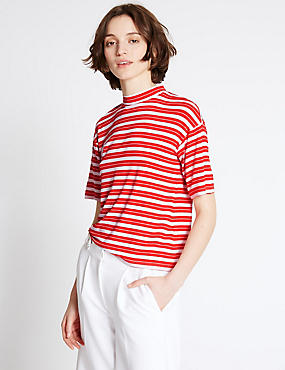 Striped Bow Back Half Sleeve T-Shirt, RED MIX, catlanding