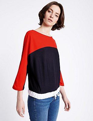 Colour Block 3/4 Sleeve Jersey Top, BLACK MIX, catlanding