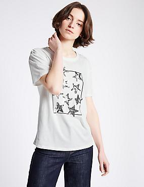 Modal Blend Sequin Short Sleeve T-Shirt, IVORY MIX, catlanding