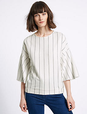 Pure Cotton Striped 3/4 Sleeve Jersey Top, IVORY MIX, catlanding