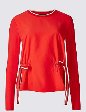 Modal Blend Tie Front Jersey Top, RED, catlanding