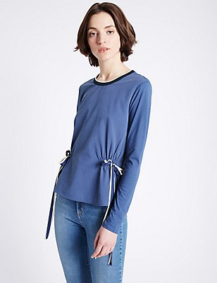 Modal Blend Tie Front Jersey Top, NAVY MIX, catlanding