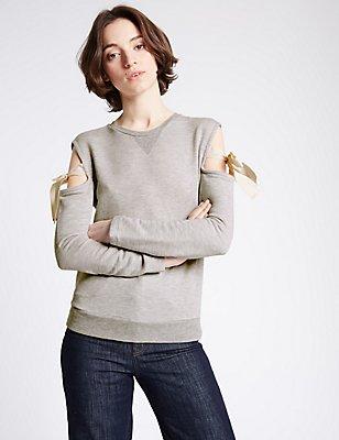 Cotton Rich Cold Shoulder Jersey Top, GREY, catlanding