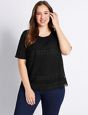 PLUS - T-shirt met korte mouwen en kanten voorzijde, ZWART, catlanding