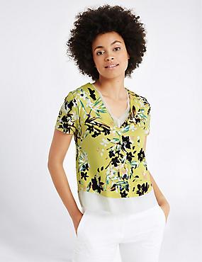 Floral Print V-Neck Short Sleeve T-Shirt, GREEN MIX, catlanding