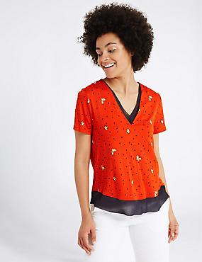 Floral Print V-Neck Short Sleeve T-Shirt, ORANGE MIX, catlanding