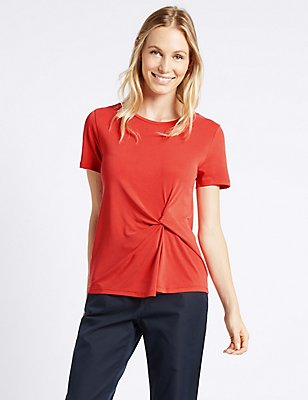 Modal Rich Front Tie Twist T-Shirt, ORANGE, catlanding