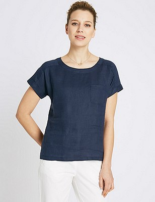 Pure Linen Shell Top, NAVY, catlanding
