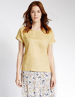 Pure Linen Shell Top, GILT, catlanding