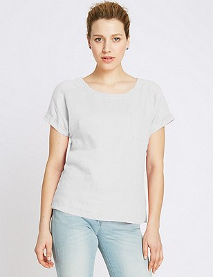 Pure Linen Shell Top, SOFT WHITE, catlanding