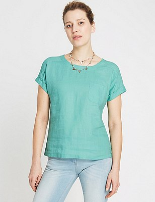 Pure Linen Shell Top, MINT, catlanding
