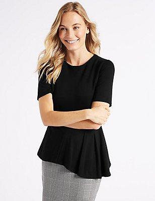Asymmetrical Hem Short Sleeve Peplum Top, BLACK, catlanding