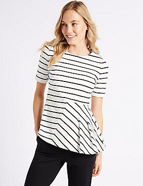 Striped Round Neck Short Sleeve Top, IVORY MIX, catlanding
