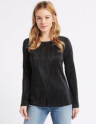 PETITE – Langärmeliges T-Shirt mit Crinkle, SCHWARZ, catlanding