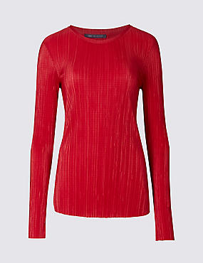 Plisse Round Neck Long Sleeve T-Shirt, RED, catlanding