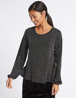Metallic Stripe Long Sleeve T-Shirt, BLACK MIX, catlanding