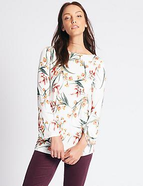 Floral Print Slash Neck Long Sleeve Tunic, IVORY MIX, catlanding