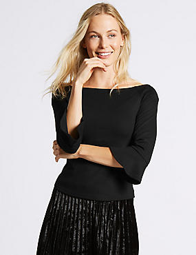 Ponte 3/4 Sleeve Bardot Top, BLACK, catlanding