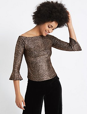 Sparkly Flared Sleeve Bardot Top, COPPER, catlanding