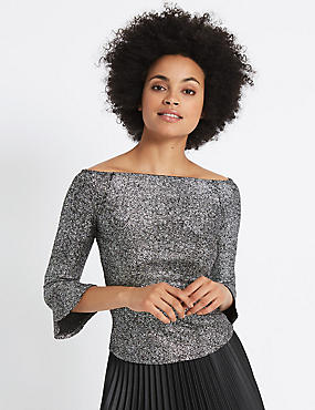 Sparkly Flared Sleeve Bardot Top, SILVER, catlanding