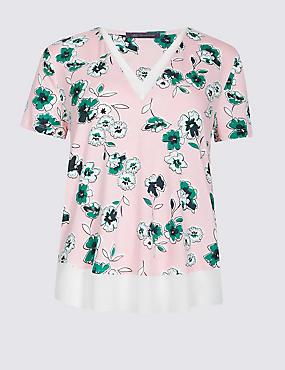 Floral Print V-Neck Short Sleeve T-Shirt, PINK MIX, catlanding
