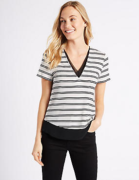 Striped V-Neck Short Sleeve T-Shirt , BLACK MIX, catlanding