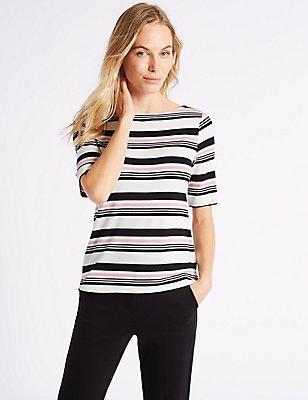 Striped Slash Neck Half Sleeve T-Shirt, PINK, catlanding