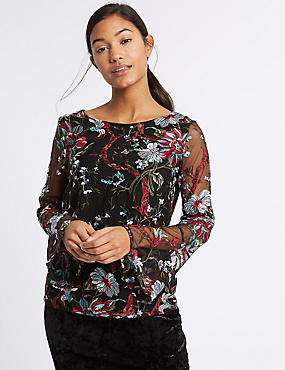 Lace Embroidered Long Sleeve T-Shirt, BLACK MIX, catlanding
