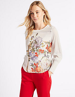 Floral Print Round Neck Long Sleeve T-Shirt, IVORY, catlanding