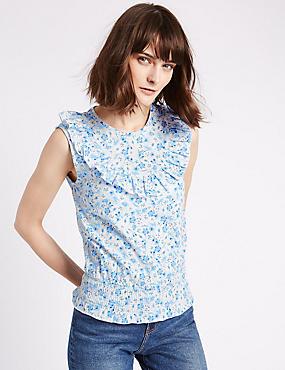 Pure Cotton Ditsy Print Ruffle Gypsy Top, BLUE MIX, catlanding