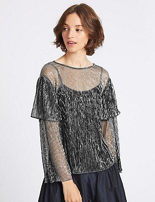 Textured Plisse Foil Long Sleeve T-Shirt, SILVER MIX, catlanding