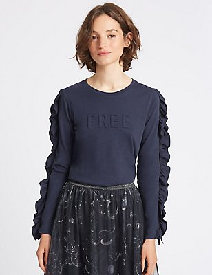 Pure Cotton Embossed Long Sleeve T-Shirt, ELECTRIC BLUE, catlanding