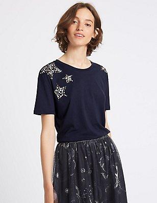 T-shirt en modal mélangé à manches courtes, effet scintillant, BLEU MARINE ASSORTI, catlanding