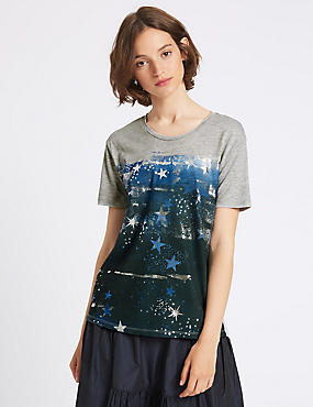 Cotton Blend Printed Short Sleeve T-Shirt, GREY MARL, catlanding
