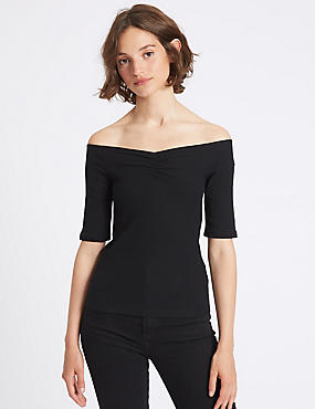 Cotton Rich Ribbed Half Sleeve Bardot Top, BLACK, catlanding