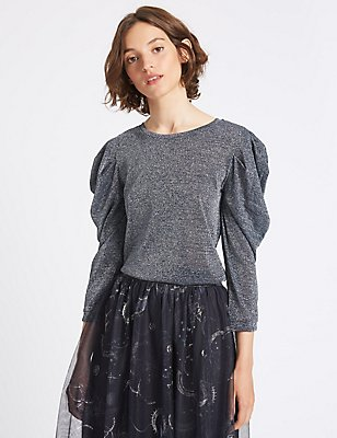 Metallic Round Neck Puff Sleeve T-Shirt, BLUE, catlanding