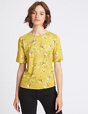 Star Print Foil Flared Sleeve T-Shirt, LIME MIX, catlanding