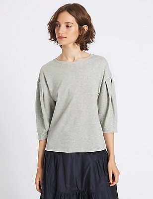Pure Cotton Round Neck Pearl Sleeve T-Shirt, GREY MARL, catlanding